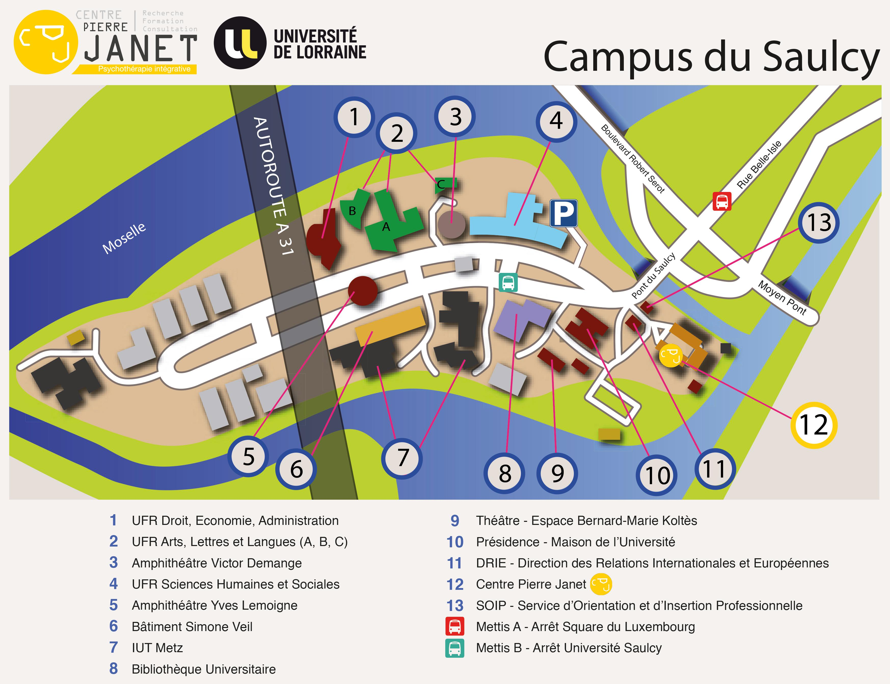 Plan campus Saulcy Centre Pierre Janet